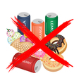 No Eat Sweet Drinks and Sweet Food vector image