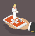 online doctor flat isometric low poly concept vector image
