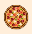 pizza top view colorful vector image
