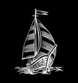 sailing ship floating vector image vector image