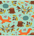 seamless autumn pattern with forest animals vector image vector image