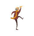 senior man running with a paper plain grandpa vector image vector image