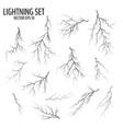 set black cracks and lightning bolts vector image vector image