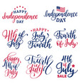 set fourth july hand lettering vector image vector image
