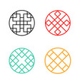 set of circle korean pattern window frame vector image vector image