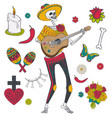 set of elements for day of the dead vector image