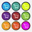 Shopping cart icon sign Nine multi colored round vector image vector image