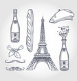 sketch set french attributes vector image vector image