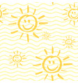 smiling sun seamless pattern vector image vector image