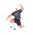 soccer striker running and kicking ball with foot vector image vector image