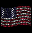 waving united states flag stylization of barbed vector image