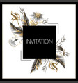 wedding invitation with golden and metallic leaves vector image vector image