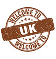 welcome to uk brown round vintage stamp vector image vector image