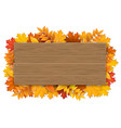wooden sign with autumn maple tree leaves vector image vector image