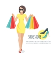 Young woman holding shopping bags vector image