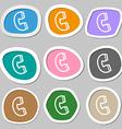 handset icon symbols Multicolored paper stickers vector image