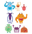 a set of cartoon monsters collection of happy vector image