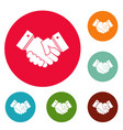 hand peace icons circle set vector image