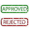 approved and rejected stamp texture colored vector image vector image
