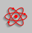 atom sign red icon with soft vector image vector image
