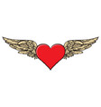 banner with a red flying heart with golden wings vector image vector image