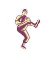 Baseball Pitcher Throwing Ball Woodcut vector image