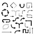 black arrows set of flat icons vector image