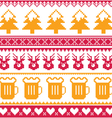 christmas seamless pattern with beer reindeer vector image vector image