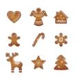 christmas set cute gingerbread cookies vector image