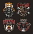 colorful animals bikers mascots badges set vector image vector image