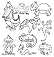 Coloring book with reptiles and amphibians vector image vector image