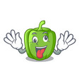 crazy green bell peppers isolated on mascot vector image