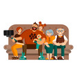 dad mom grandparents and two kids are taking sel vector image vector image