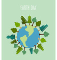 earth day Earth with trees geometric trees and vector image