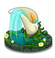 fountain with water flowing from flower calla vector image