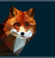 fox head low poly vector image vector image
