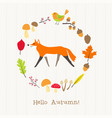fox with autumn frame card vector image