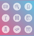 furniture icons line style set with mixer window vector image