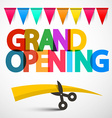 Grand Opening Colorful Title with Scissors Ribbon vector image vector image