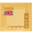 Grunge banner with Big Ben in London vector image vector image