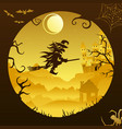halloween mountains broom flying witch paper light vector image