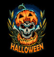 halloween pumpkin and it has a skull inside vector image vector image