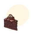 hand drawn piece of layered chocolate cake with vector image vector image
