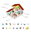 house in cutaway and element set isometric view vector image vector image