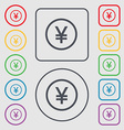Japanese Yuan icon sign symbol on the Round and vector image