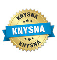Knysna round golden badge with blue ribbon vector image vector image