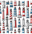 lighthouse and beacon nautical seamless pattern vector image