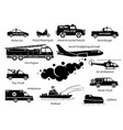 list emergency response vehicles icon set vector image vector image