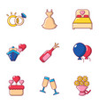 marriage night icons set cartoon style vector image vector image