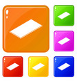 metal panel icons set color vector image vector image